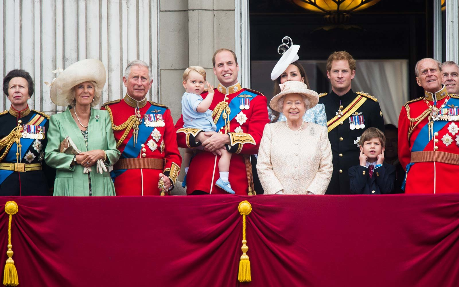 LONDON, ENGLAND - JUNE 13: (L-R) Princess Anne, Princess Royal, Camilla, Duchess of Cornwall, Prince Charles, Prince of Wales, Prince George of Cambridge, Prince William, Duke of Cambridge Catherine, Duchess of Cambridge, Queen Elizabeth II, Prince Harry, Prince Philip, Duke of Edinburgh and Prince Andew, Duke of York look on from the balcony during the annual Trooping The Colour ceremony at Horse Guards Parade on June 13, 2015 in London, England.
