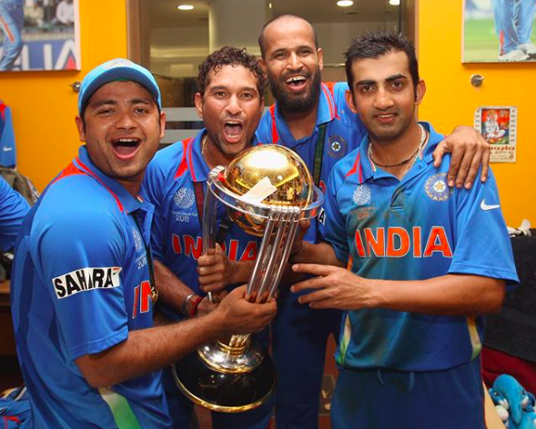 Indian cricket team with World Cup