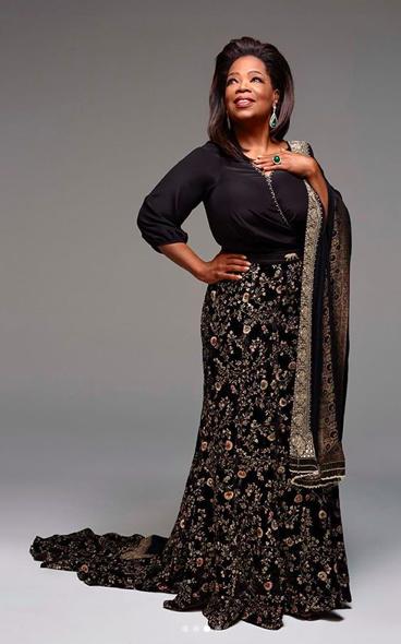 Oprah Winfrey in a Sabyasachi saree