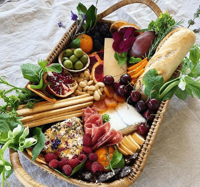 fruit basket, bread, cheese