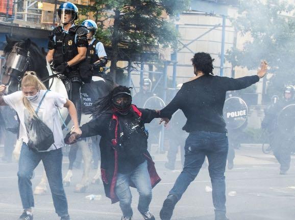 Rahul Dubey helping protestors